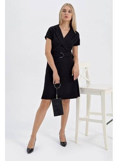 Jument Scuba Yakalı Anvelop Eteği Kiloş D Tokalı Elbise Siyah